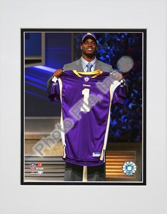 """Adrian Peterson """"2007 NFL Draft Day"""" Double Matted 8"""" x 10"""" Photograph (Unframed)"""