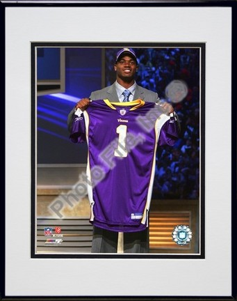 "Adrian Peterson ""2007 NFL Draft Day"" Double Matted 8"" x 10"" Photograph in Black Anodized Aluminum Fr"
