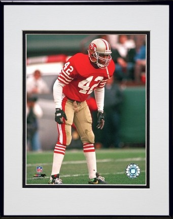"Ronnie Lott """"Action"""" Double Matted 8� x 10� Photograph in Black Anodized Aluminum Frame"" PHF-AAIH140-37"
