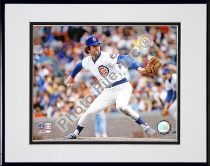 """Bruce Sutter Chicago Cubs """"Pitching Action"""" Double Matted 8"""" x 10"""" Photograph in Black Anodized Alum"""