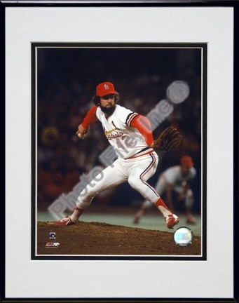 "Bruce Sutter St. Louis Carindals"" Pitching Action"" Double Matted 8"" x 10"" Photograph in Black Anodiz"