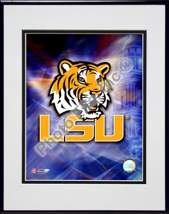 """Louisiana State (LSU) Tigers """"Logo"""" Double Matted 8"""" x 10"""" Photograph in Black Anodized Aluminum Frame"""