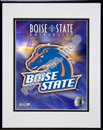 """Boise State Broncos """"University Logo"""" Double Matted 8"""" x 10"""" Photograph in Black Anodized Aluminum F"""