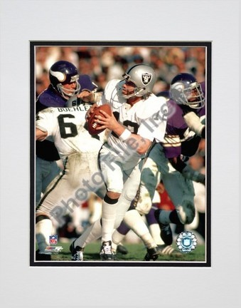 """Ken Stabler - Dropping Back, Action Double Matted 8"""" x 10"""" Photograph (Unframed)"""