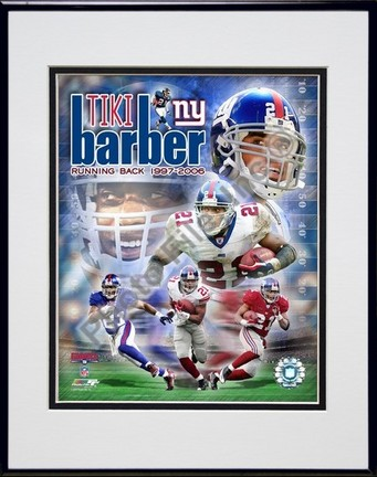 "Tiki Barber ""Legends Composite"" Double Matted 8"" x 10"" Photograph in Black Anodized Aluminum Frame"