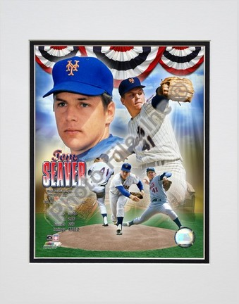 "Tom Seaver ""Legends Compostie; NY Mets"" Double Matted 8"" x 10"" Photograph (Unframed)"