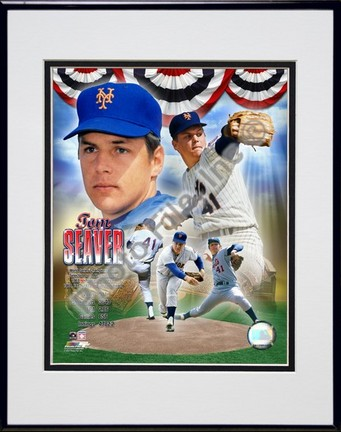 "Tom Seaver ""Legends Compostie; NY Mets"" Double Matted 8"" x 10"" Photograph in Black Anodized Aluminum Frame"