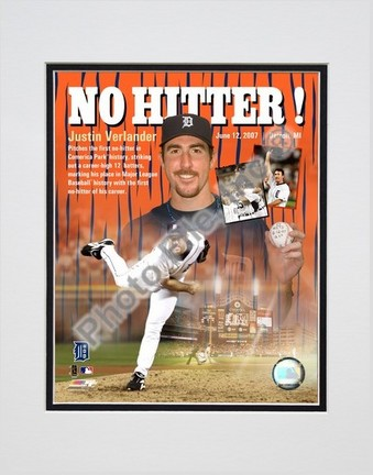 "Justin Verlander ""0612/07 No Hitter / Portrait Plus"" Double Matted 8"" x 10"" Photograph (Unframed)"