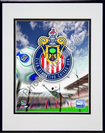 "Chivas USA Club Deportivo """"2007 Team Logo"""" Double Matted 8"""" x 10"""" Photograph in Black Anodized Aluminum Frame"" PHF-AAIO066-37"