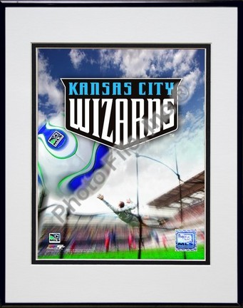 """Kansas City Wizards """"2007 Team Logo"""" Double Matted 8"""" x 10"""" Photograph in Black Anodized Aluminum Fr"""