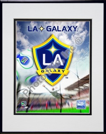 """Los Angeles Galaxy 2007 Team Logo"""" Double Matted 8"""" x 10"""" Photograph in Black Anodized Aluminum Frame"""
