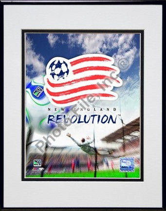 "New England Revolution """"2007 Team Logo """" Double Matted 8"""" x 10"""" Photograph in Black Anodized Aluminum Frame"" PHF-AAIO073-37"