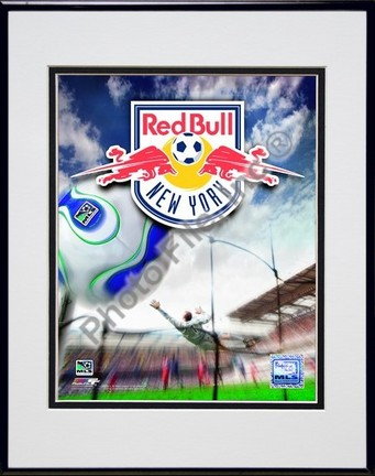 "New York Red Bulls ""2007 Team Logo"" Double Matted 8"" x 10"" Photograph in Black Anodized Aluminum Fra"