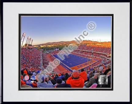 """Boise State Broncos """"Bronco Stadium"""" Double Matted 8″ x 10″ Photograph in Black Anodized Aluminum Frame"""