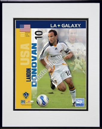 "Landon Donovan """"2007 International Series #26"""" Double Matted 8"""" x 10"""" Photograph in Black Anodized Aluminum Frame"" PHF-AAIO155-37"