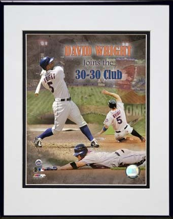 "David Wright ""30/30 2007"" Double Matted 8"" x 10"" Photograph in Black Anodized Aluminum Frame"