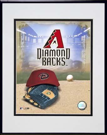 "Arizona Diamond Backs 2007 ""Logo"" Double Matted 8"" x 10"" Photograph in Black Anodized Aluminum Frame"