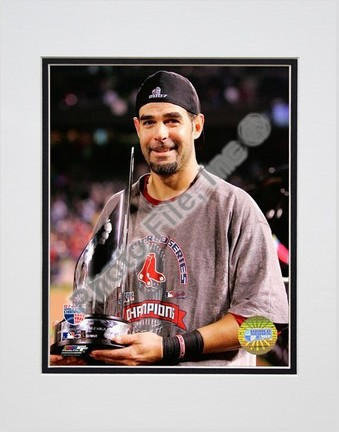 """Mike Lowell """"2007 World Series MVP Trophy"""" Double Matted 8"""" x 10"""" Photograph (Unframed)"""