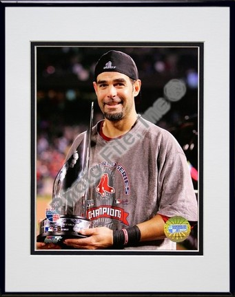 """Mike Lowell """"2007 World Series MVP Trophy"""" Double Matted 8"""" x 10"""" Photograph in Black Anodized Alumi"""