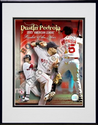 """Dustin Pedroia """"2007 American League Rookie of the Year"""" Double Matted 8"""" x 10"""" Photograph in Black"""