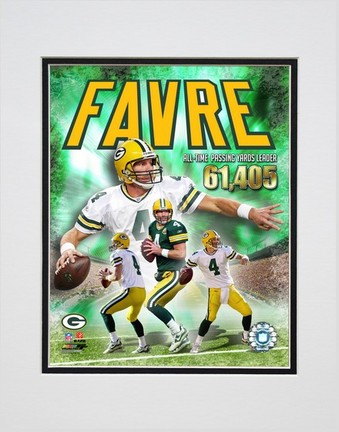 """Brett Favre """"2007 All time NFL Passing Yards Leader Composite"""" Double Matted 8"""" x 10"""" Photograph (Unframed"""