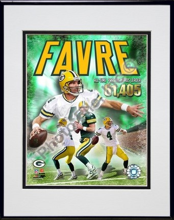 """Brett Favre """"2007 All time NFL Passing Yards Leader Composite"""" Double Matted 8"""" x 10"""" Photograph in Black"""