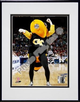 "Georgia Tech Yellowjacket Mascot, 2003"" Double Matted 8"" x 10"" Photograph In Black Anodized Aluminum Fram"