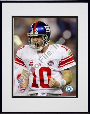 "Eli Manning ""Super Bowl XLII Fist Pump Action #3"" Double Matted 8"" x 10"" Photograph in Black Anodize"