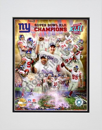 """New York Giants """"2007 Super Bowl XLII Champions"""" PF Gold Double Matted 8"""" x 10"""" Photograph (Unframed)"""