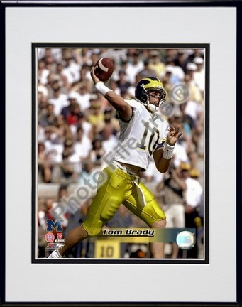 """Tom Brady """"University of Michican Wolverines 1998 Action"""" Double Matted 8"""" x 10"""" Photograph In Black"""