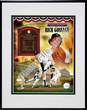 """Rich Gossage """"HOF PF Gold"""" Double Matted 8"""" x 10"""" Photograph In Black Anodized Aluminum Frame"""
