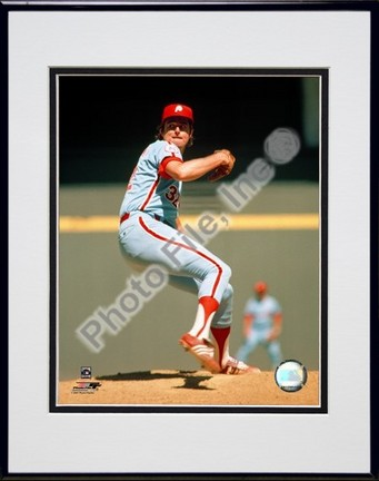 """Steve Carlton """"Action"""" Double Matted 8"""" x 10"""" Photograph in Black Anodized Aluminum Frame"""