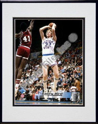 """Larry Bird Indiana State Sycamores """"Action"""" Double Matted 8"""" x 10"""" Photograph In Black Anodized Alum"""