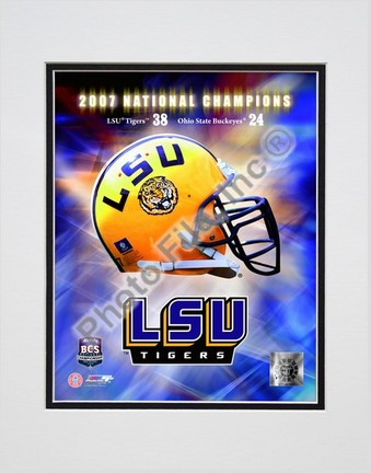 """Louisiana State (LSU) Tigers BCS National Champs logo Double Matted 8"""" x 10"""" Photograph (Unframed)"""