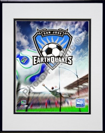 "San Jose Earthquakes ""2008 Logo"" Double Matted 8"" x 10"" Photograph In Black Anodized Aluminum Frame"