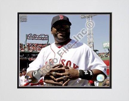 """David Ortiz  """"2008 World Series Ring Ceremony"""" Double Matted 8"""" x 10"""" Photograph (Unframed)"""