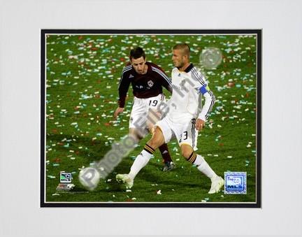 """David Beckham 2008 Action, #107 Double Matted 8"""" x 10"""" Photograph (Unframed)"""