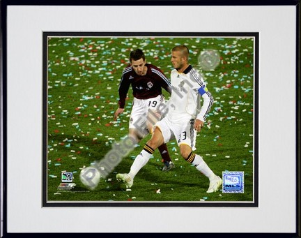"""David Beckham 2008 Action, #107 Double Matted 8"""" x 10"""" Photograph in Black Anodized Aluminum Frame"""