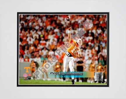 """Peyton Manning """"University of Tennessee Volunteers Action, Far View"""" Double Matted 8"""" x 10"""" Photograph (Un"""