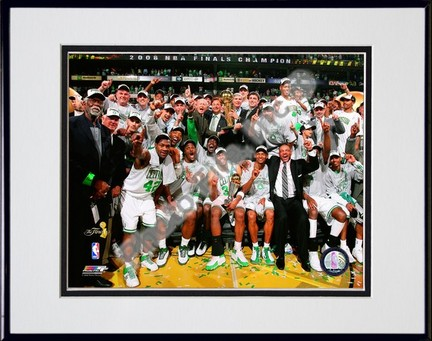 "Image of 2007-2008 Boston Celtics NBA Finals Champions Celebration; #29 Double Matted 8"" x 10"" Photograph in Black Anodized Aluminum Frame"