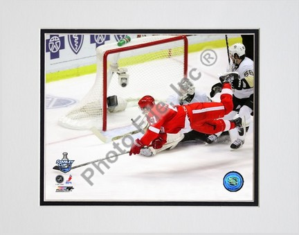 """Valtteri Filppula """"scores a diving third period goal during Game 2 of the 2008 NHL Stanley Cup Finals; #8"""" Dou"""