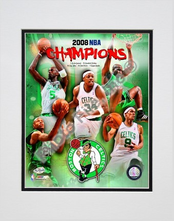 "2007-2008 Boston Celtics NBA Champions Composite Double Matted 8"" x 10"" Photograph (Unframed)"