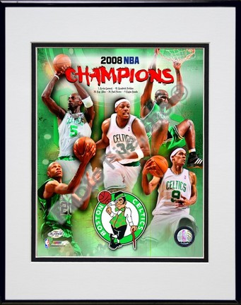 "2007-2008 Boston Celtics NBA Champions Composite Double Matted 8"" x 10"" Photograph in Black Anodized Aluminum Frame"
