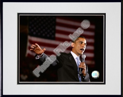 "Barack Obama Aberdeen Civic Arena May 31, 2008 in Aberdeen, South Dakota; #76 Double Matted 8"" x 10"" Photograph in B"