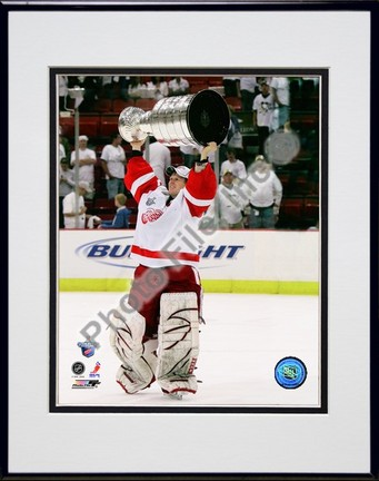 "Chris Osgood with the Stanley Cup, Game 6 of the 2008 NHL Stanley Cup Finals; #30"""" Double Matted 8� x 10� Photograph in Black Anodized Aluminum Frame"" PHF-AAJX204-37"