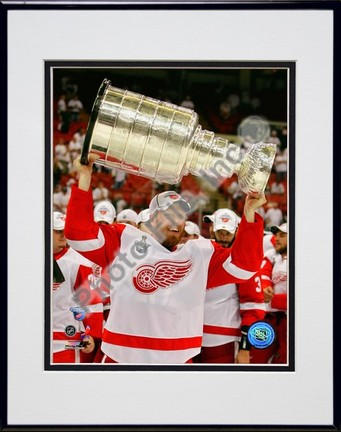"Johan Franzen with the Stanley Cup, Game 6 of the 2008 NHL Stanley Cup Finals; #31 Double Matted 8"" x 10"" Photograph"