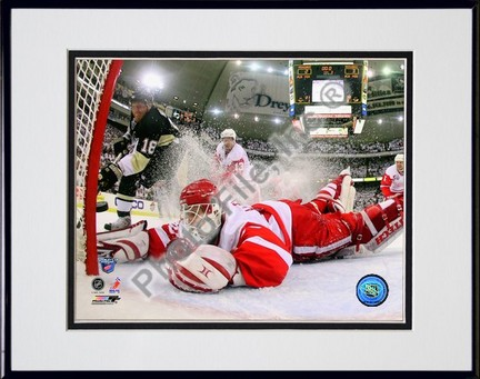"""Chris Osgood in Game 6 of the 2008 NHL Stanley Cup Finals; Action #25 Double Matted 8"""" x 10"""" Photograph in Black Ano"""