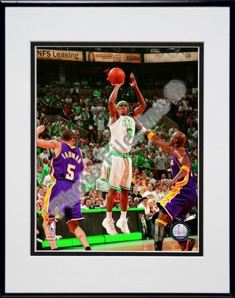 """Rajon Rondo, Game 1 of the 2008 NBA Finals; Action #3 Double Matted 8"""" x 10"""" Photograph in Black Anodized Aluminum F"""