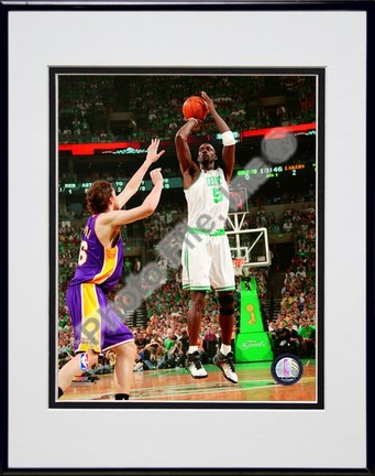 "Kevin Garnett, Game 2 of the 2008 NBA Finals; Action #4 Double Matted 8"" x 10"" Photograph in Black Anodized Aluminum"