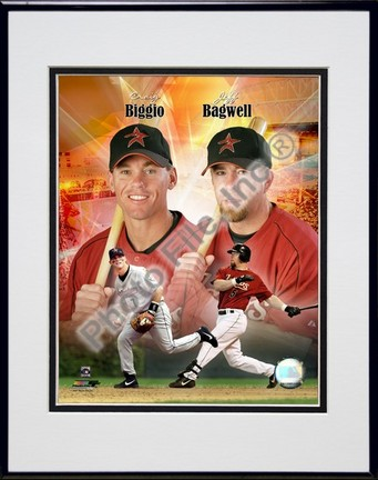 """Craig Biggio and Jeff Bagwell Portrait Plus, 1999 Double Matted 8"""" x 10"""" Photograph in Black Anodized Aluminum Frame"""